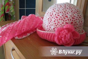 Шапочка с шарфиком на девочку, любого цвета, любого размера! 450 р!