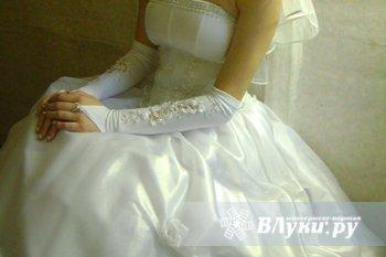 Свадебное платье размер 42-44, корсет, б.у 1 раз + кольца и перчатки. цена 700 р.